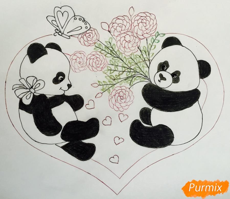 Рисуем валентинку с влюблёнными пандами и с цветочками - шаг 7