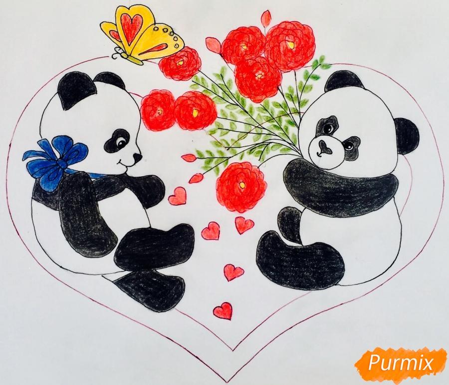 Рисуем валентинку с влюблёнными пандами и с цветочками - шаг 8