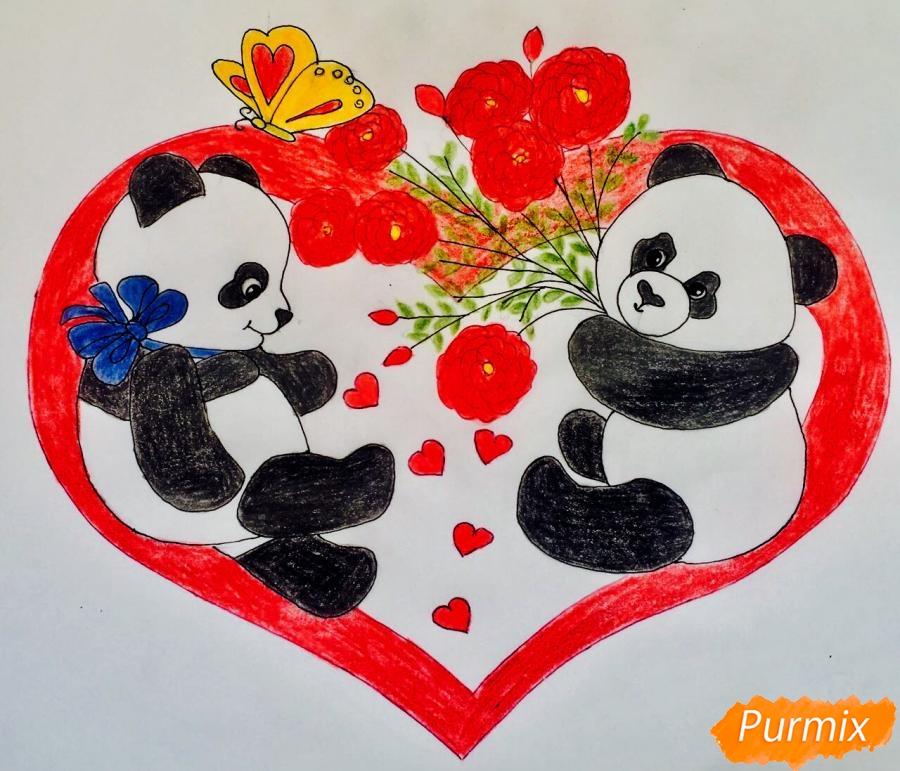 Рисуем валентинку с влюблёнными пандами и с цветочками - шаг 9