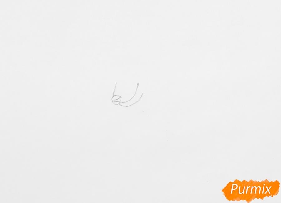 Рисуем влюблённую пару аниме собак с сердечками и с надписью I Love you - шаг 1
