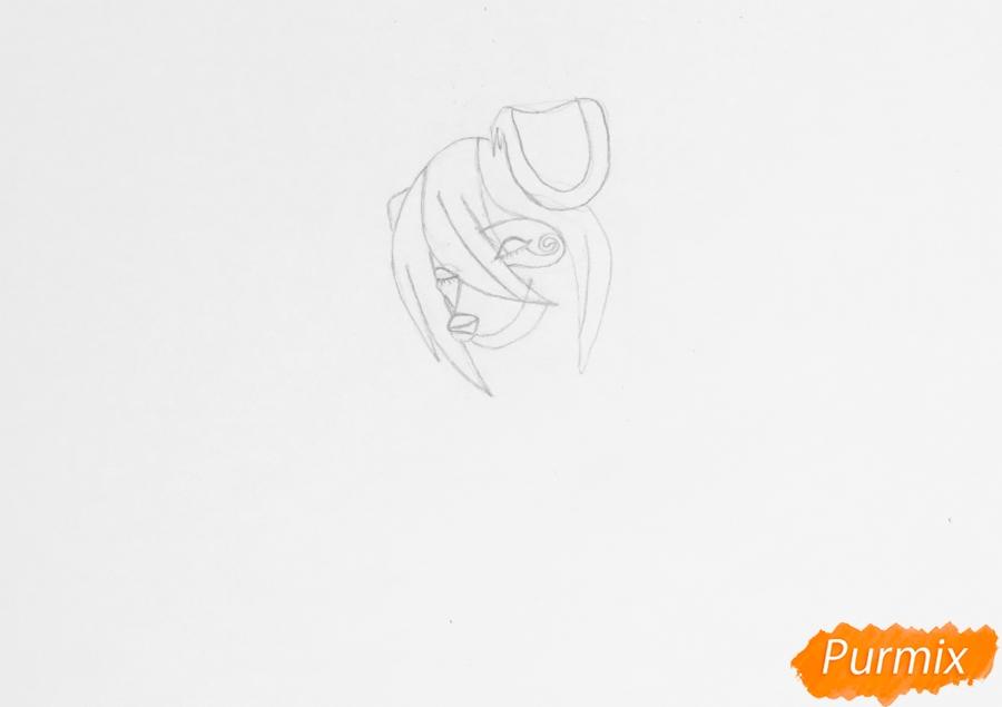 Рисуем влюблённую пару аниме собак с сердечками и с надписью I Love you - шаг 2