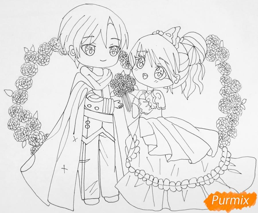 Рисуем влюблённых принца и принцессу в стиле чиби на День Святого Валентина - шаг 12