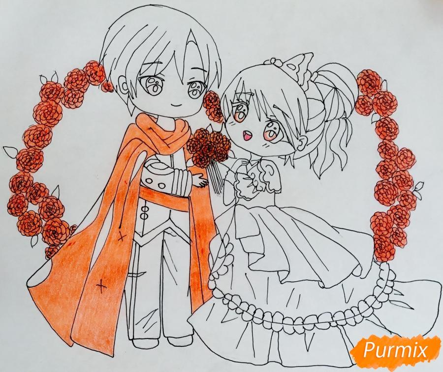 Рисуем влюблённых принца и принцессу в стиле чиби на День Святого Валентина - шаг 13