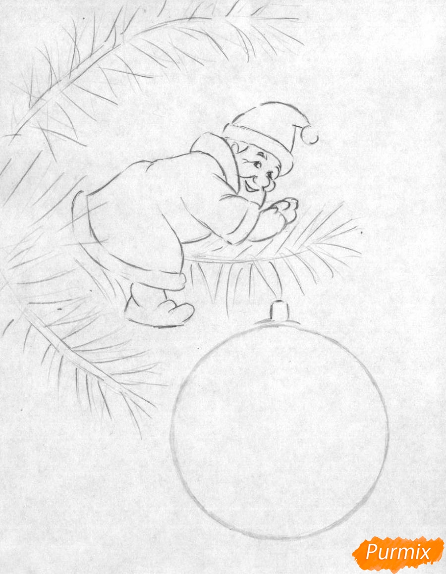 Рисуем маленького Деда Мороза на елке с новогодним шаром - шаг 1