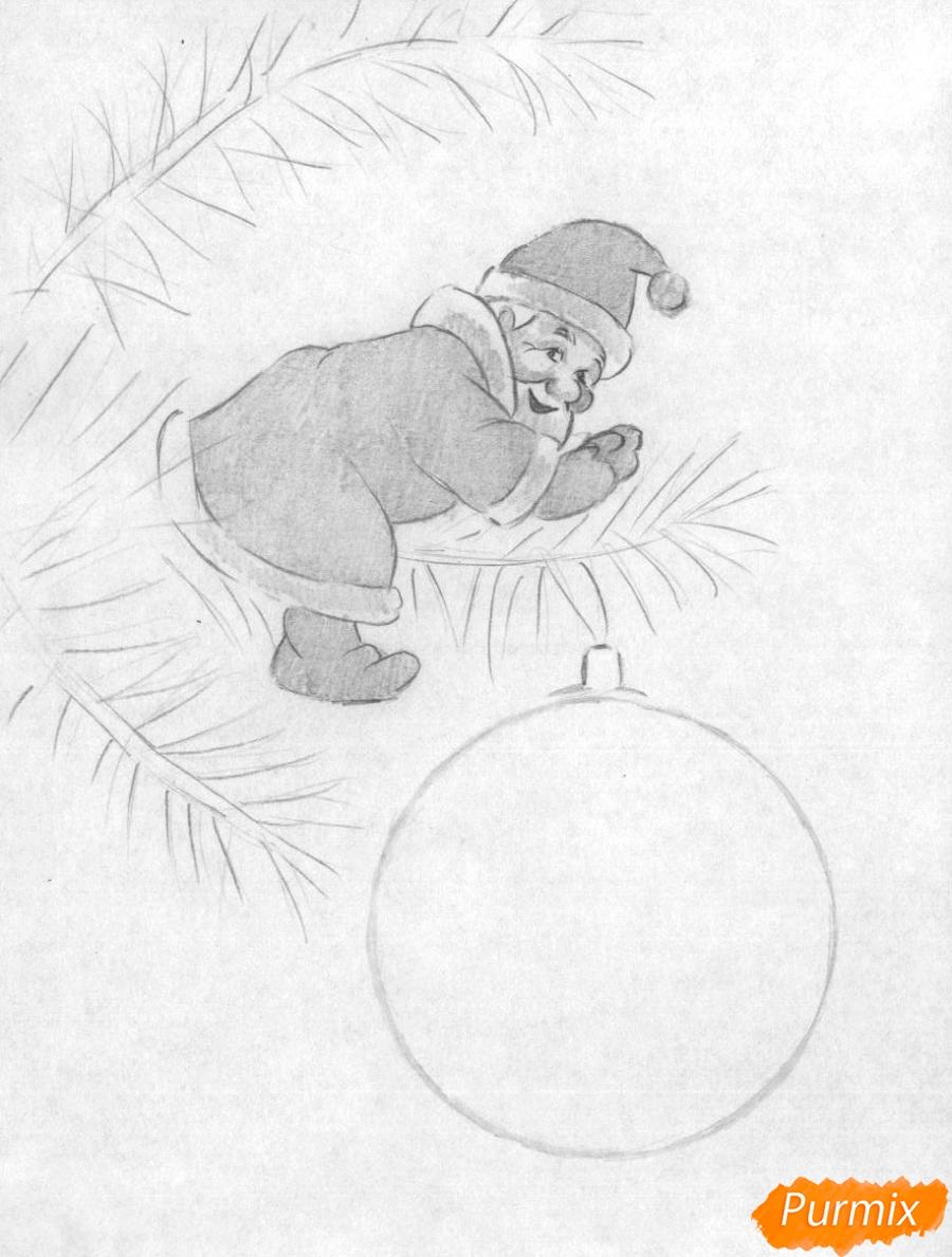 Рисуем маленького Деда Мороза на елке с новогодним шаром - шаг 2