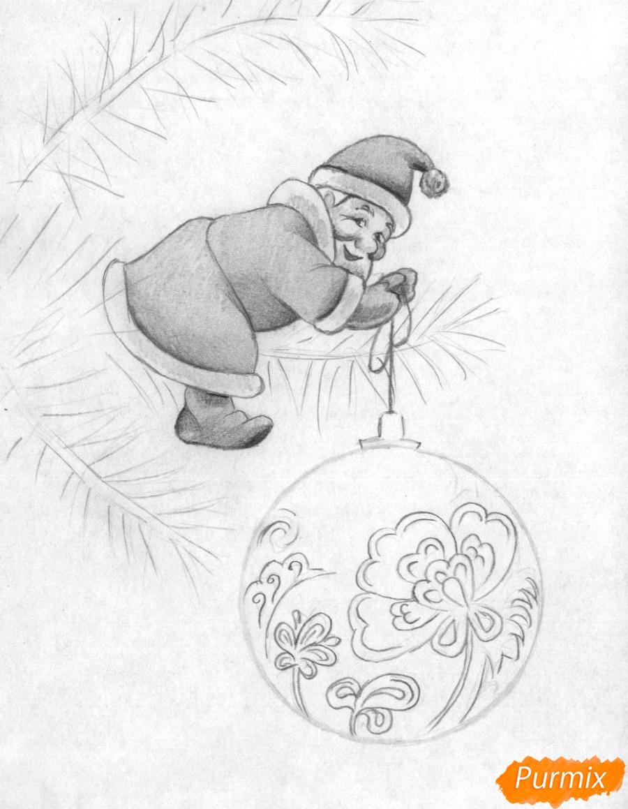 Рисуем маленького Деда Мороза на елке с новогодним шаром - шаг 3