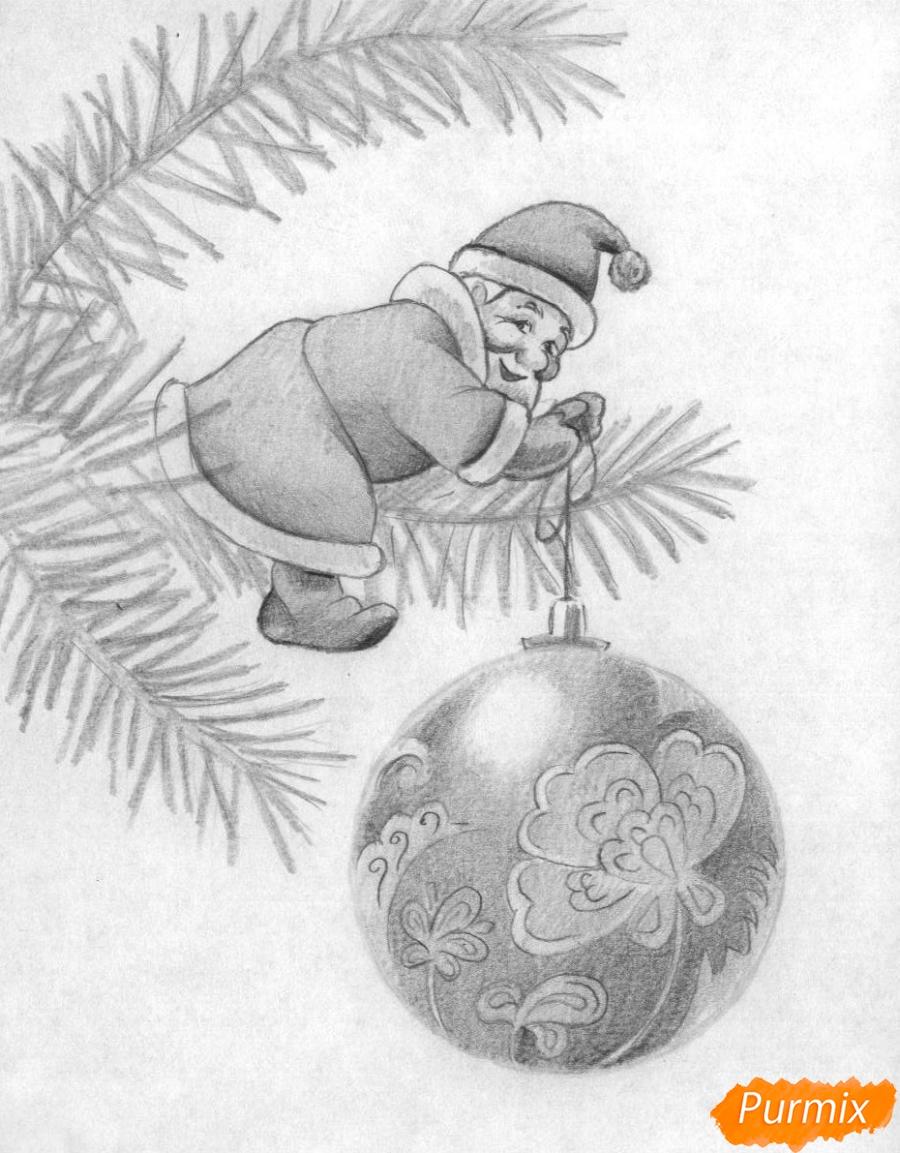 Рисуем маленького Деда Мороза на елке с новогодним шаром - шаг 4
