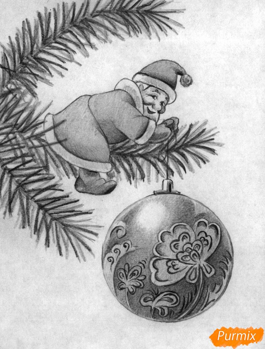 Рисуем Деда Мороза на елке с новогодним шаром карандашом поэтапно