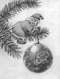 Рисуем Деда Мороза на елке с новогодним шаром поэтапно