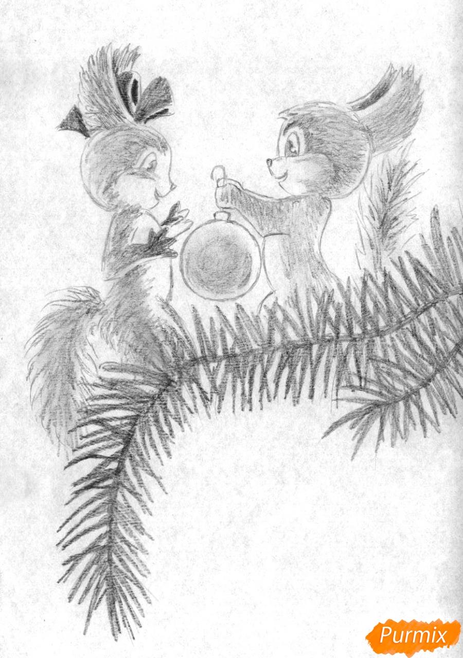 Рисуем новогоднюю открытку карандашами - шаг 3