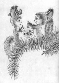 Рисуем двух белок с новогодним шариком карандашом поэтапно