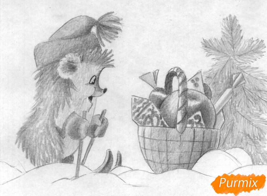 Рисуем ежика на лыжах корзину с подарками и ёлочку - шаг 2