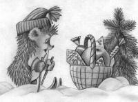 Рисуем ежика на лыжах корзину с подарками и ёлочку