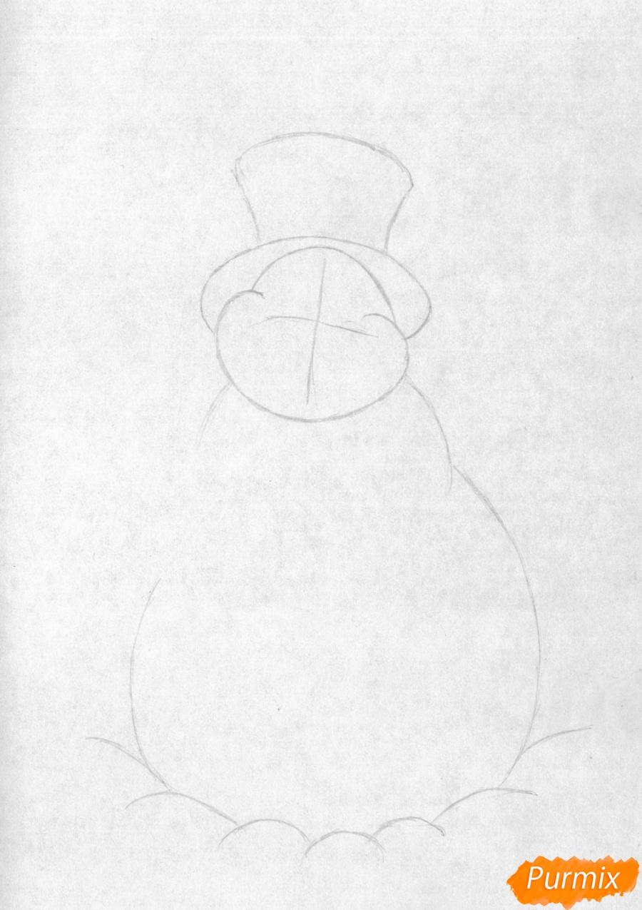 Рисуем снеговика простым на бумаге - шаг 1