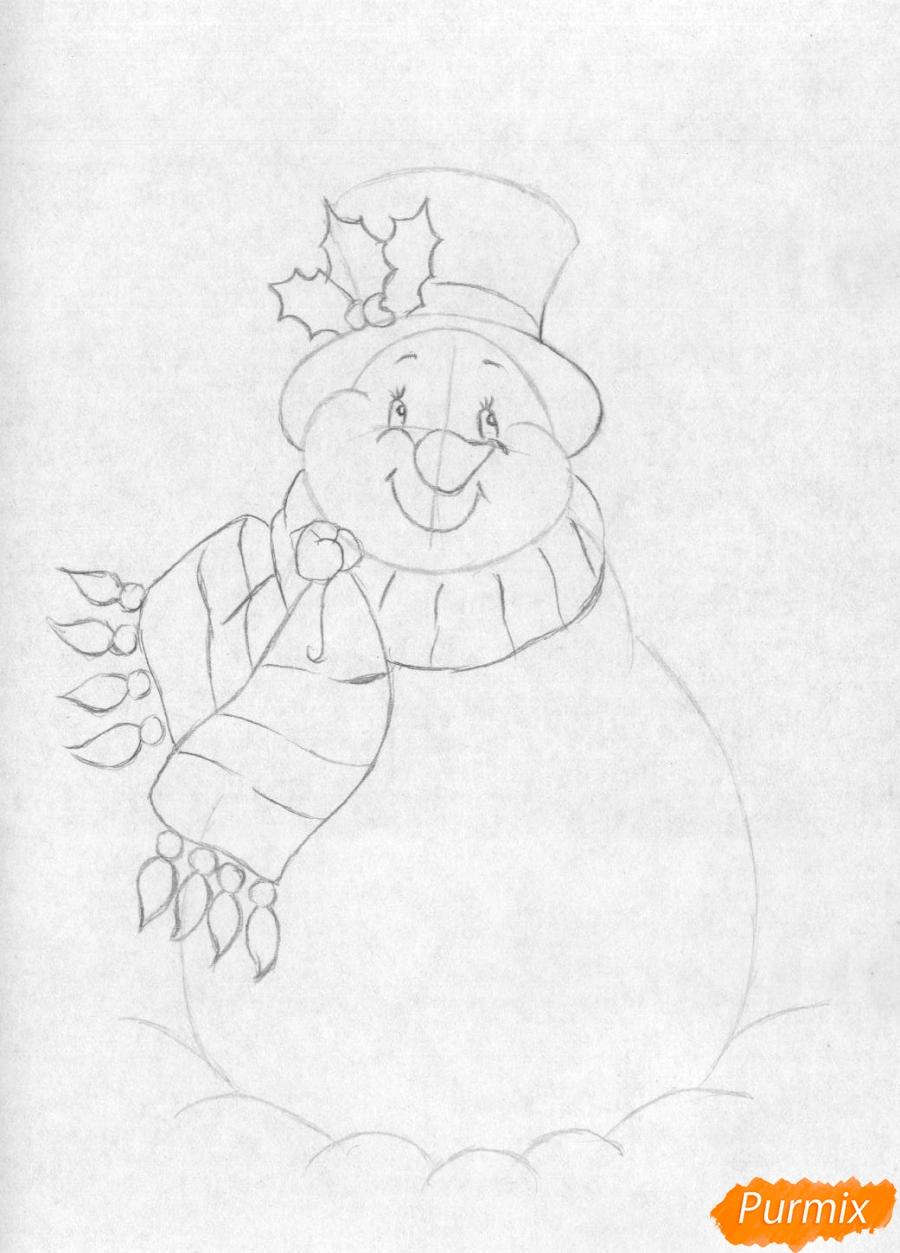 Рисуем снеговика простым на бумаге - шаг 2