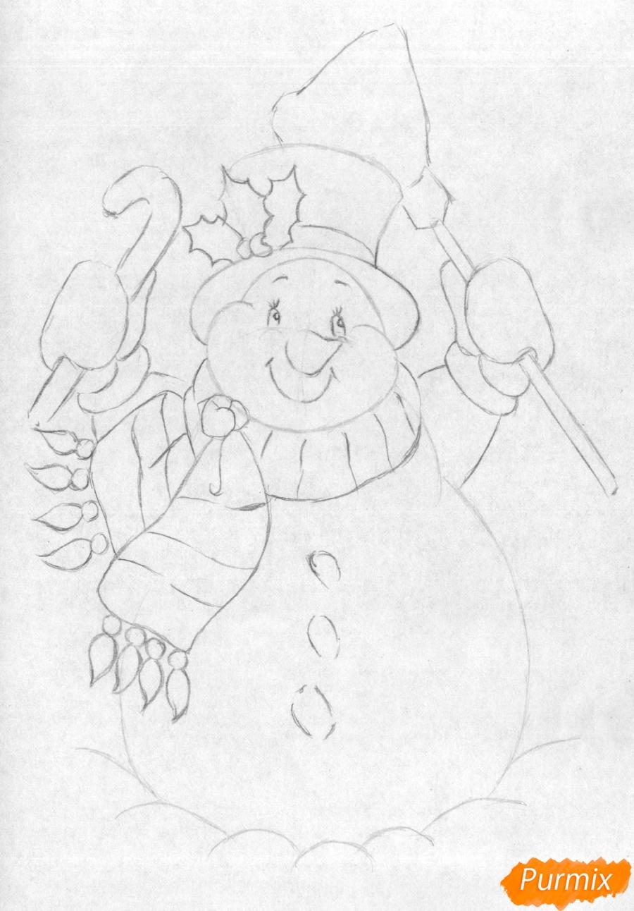 Рисуем снеговика простым на бумаге - шаг 3