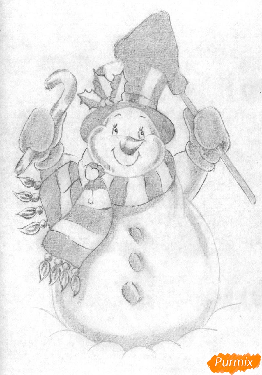 Рисуем снеговика простым на бумаге - шаг 4