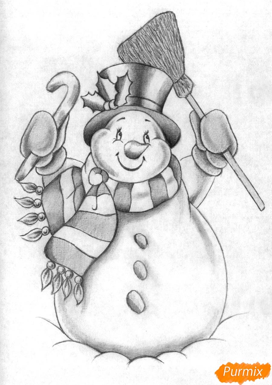 Рисуем снеговика простым на бумаге карандашом поэтапно