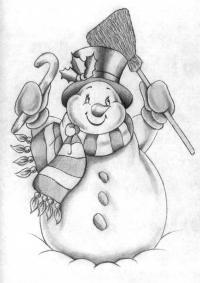 снеговика карандашом