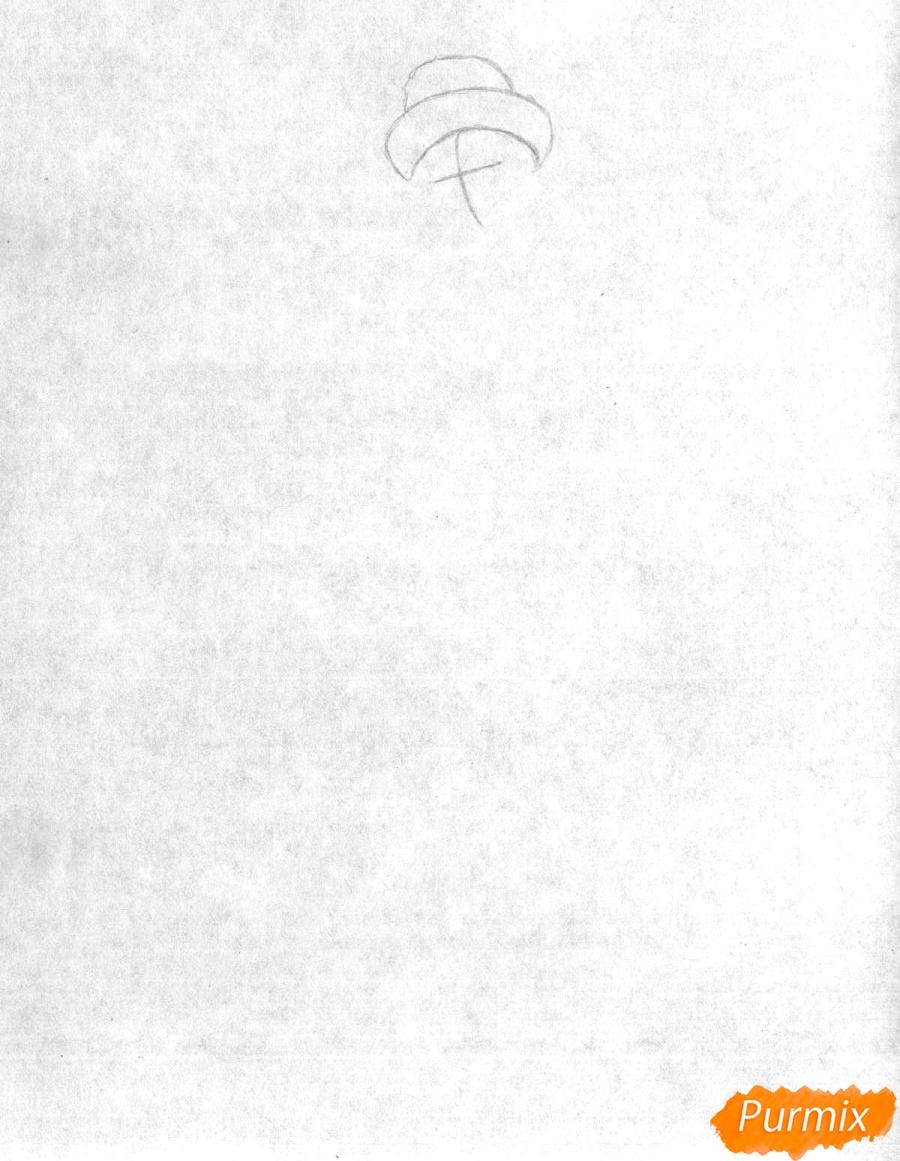 Рисуем снегурочку цветными карандашами - шаг 1