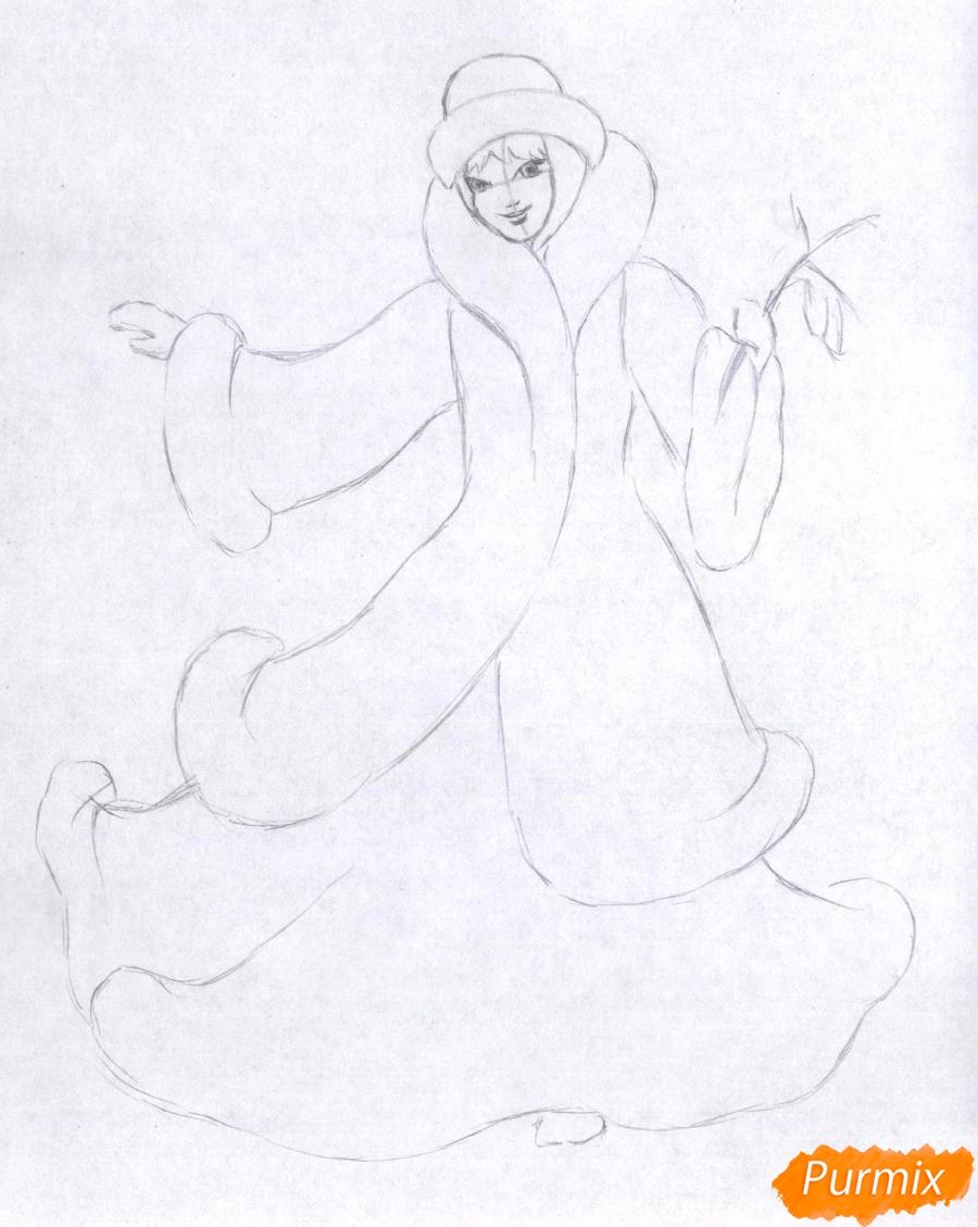 Рисуем снегурочку цветными карандашами - шаг 2