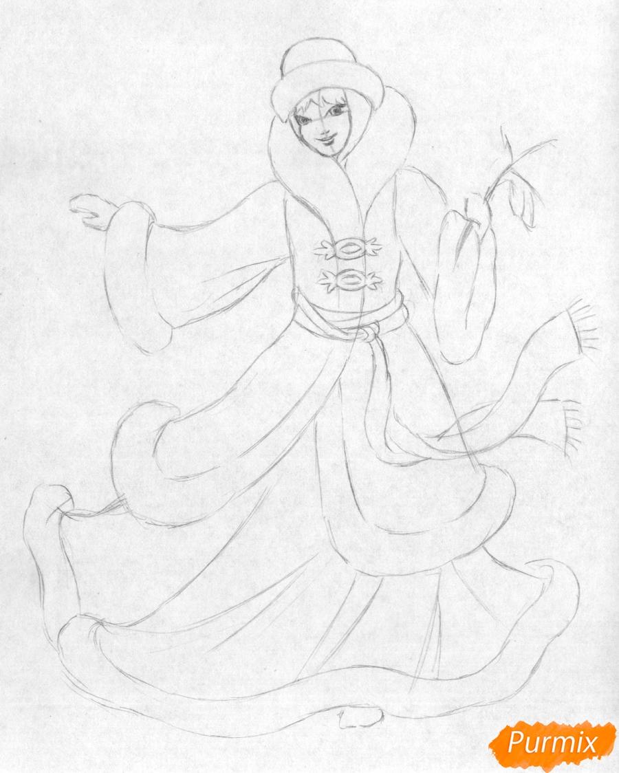 Рисуем снегурочку цветными карандашами - шаг 3