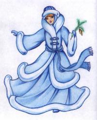 Рисуем снегурочку цветными карандашами поэтапно