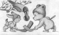 Рисуем зайца, мишку и ворону играющих в хоккей