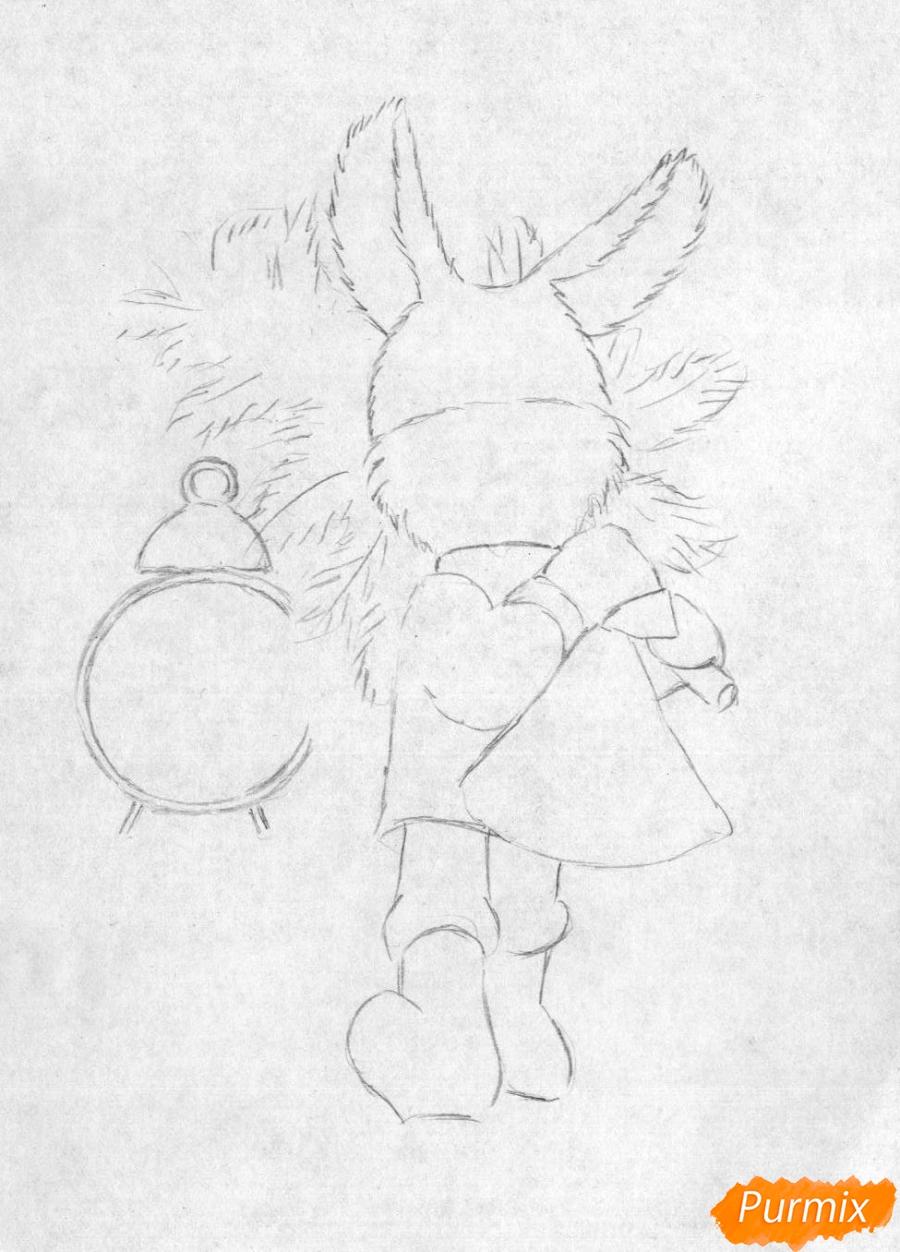 Рисуем зайца с елкой к новому году простым - шаг 1