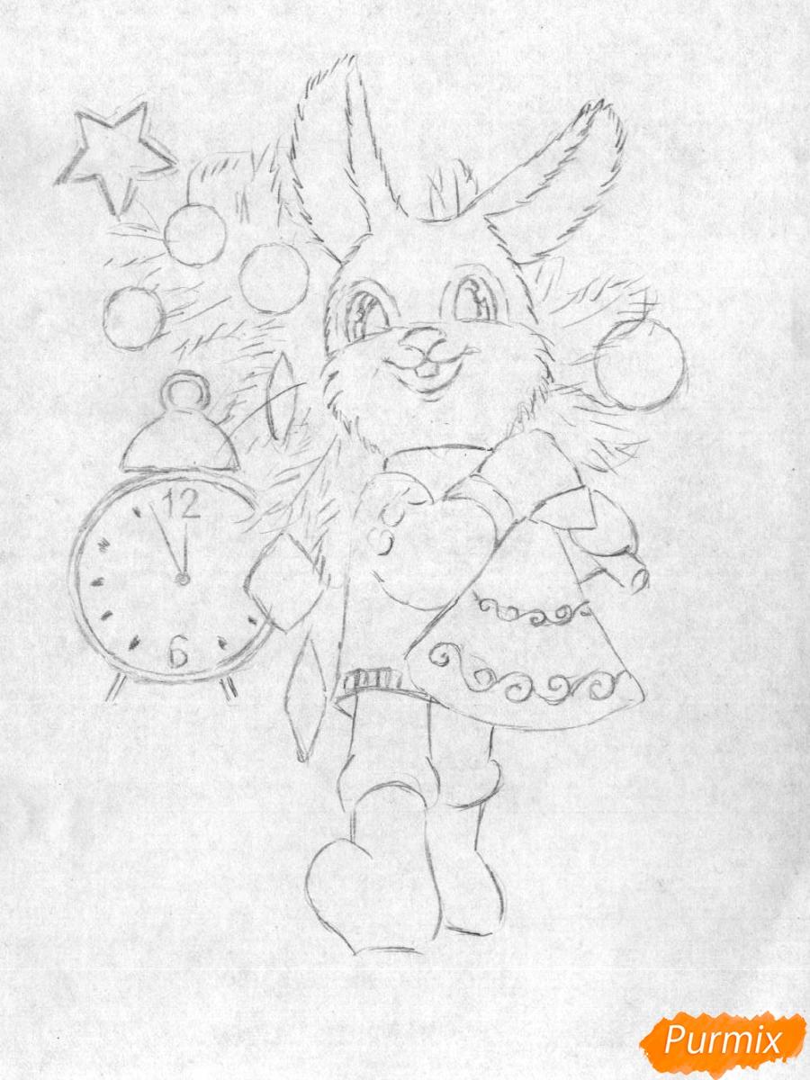 Рисуем зайца с елкой к новому году простым - шаг 2