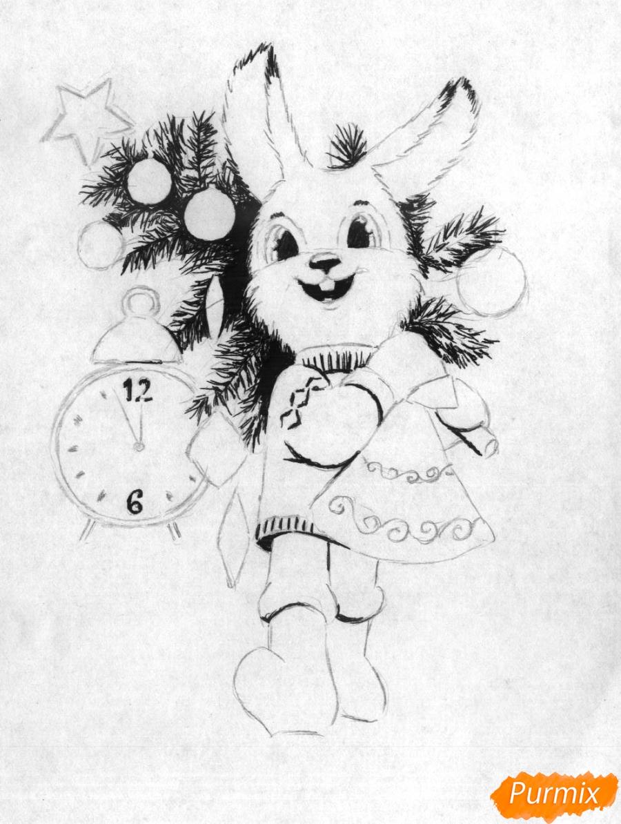 Рисуем зайца с елкой к новому году простым - шаг 3