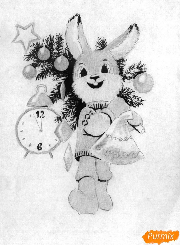 Рисуем зайца с елкой к новому году простым - шаг 4