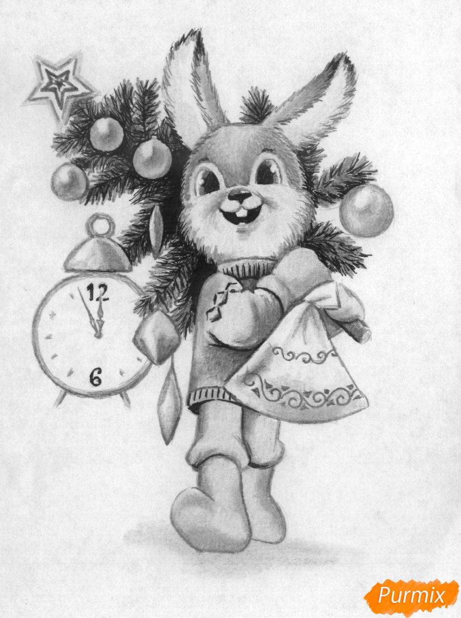 Рисуем зайца с елкой к новому году простым карандашом поэтапно
