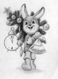 Рисуем зайца с ёлкой к Новому Году карандашом