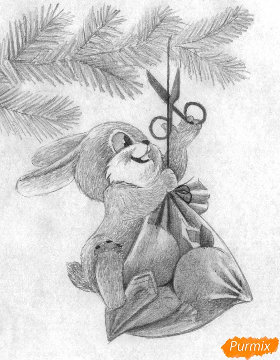 Рисуем зайчика висящего на елке к Новому Году карандашами - шаг 3