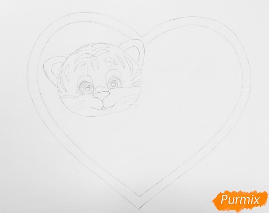 Валентинка с милым тигрёнком и сердечками на День Святого Валентина - шаг 3
