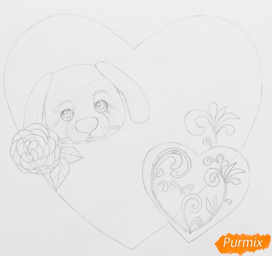 Валентинка с собачкой с розой во рту и с сердечками - шаг 3
