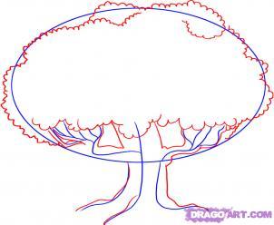 Как рисовать Дуб шаг 2
