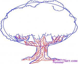 Как рисовать Дуб шаг 3