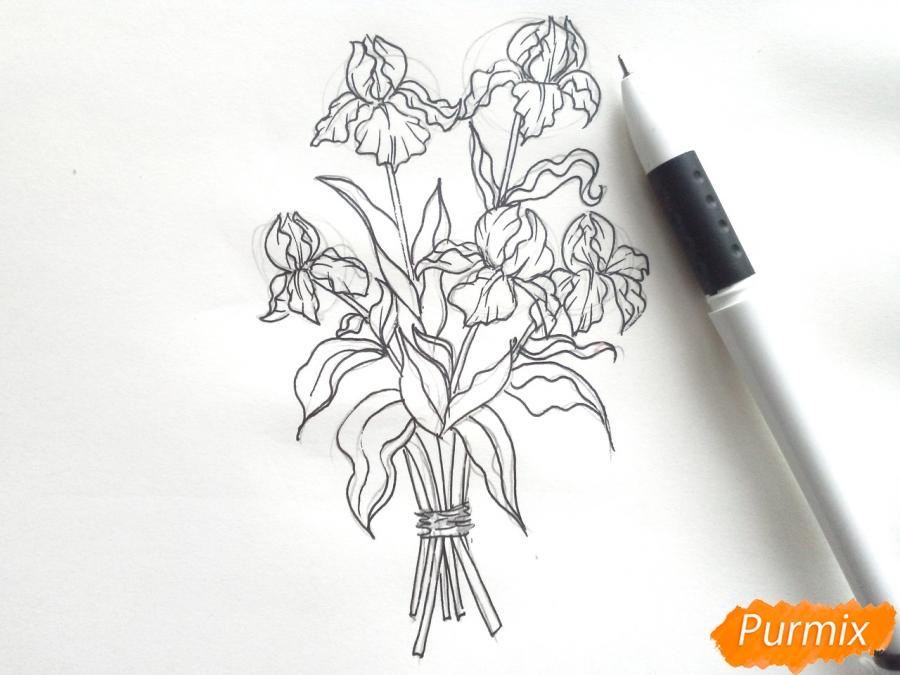 Рисуем букет ирисов цветными карандашами - шаг 5