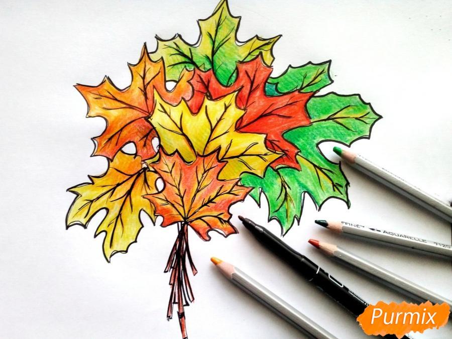 Рисуем букет из кленовых листьев - фото 10