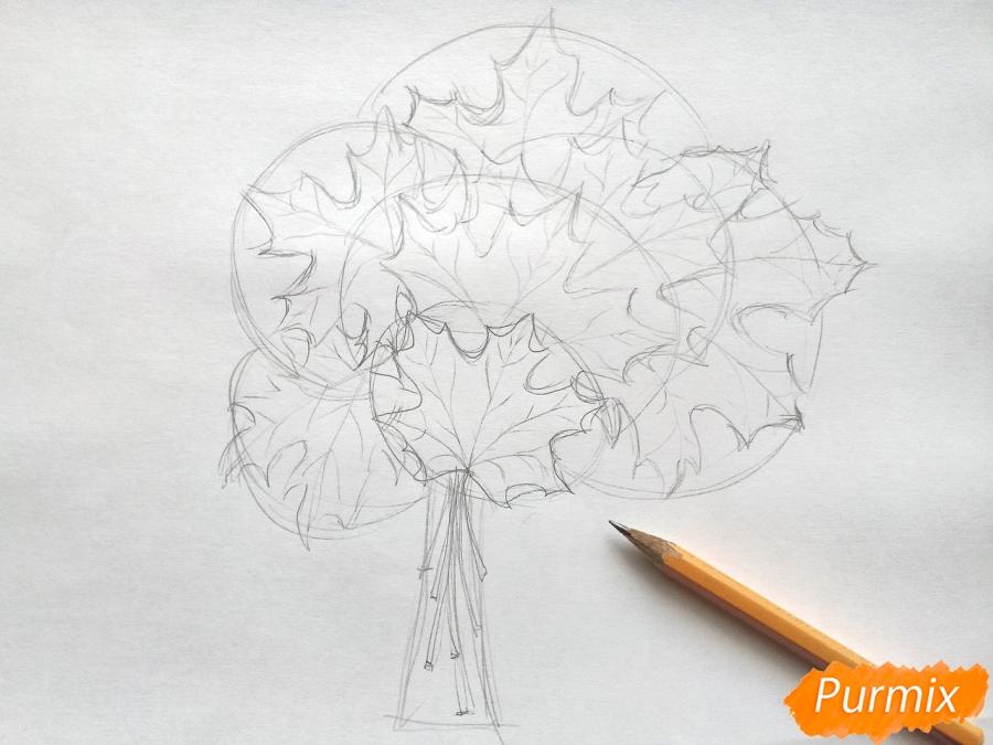 Рисуем букет из кленовых листьев - фото 3
