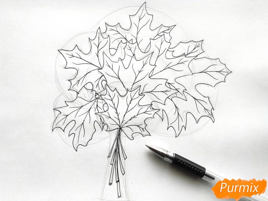 Рисуем букет из кленовых листьев - фото 4