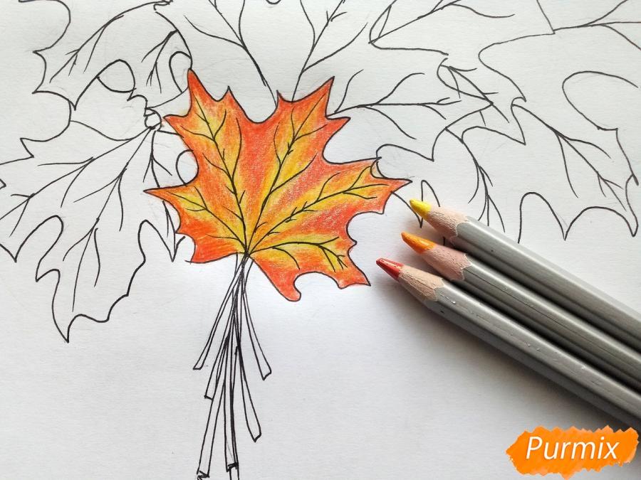 Рисуем букет из кленовых листьев - фото 5