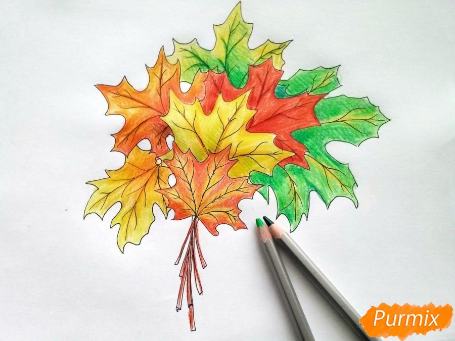 Рисуем букет из кленовых листьев - фото 8