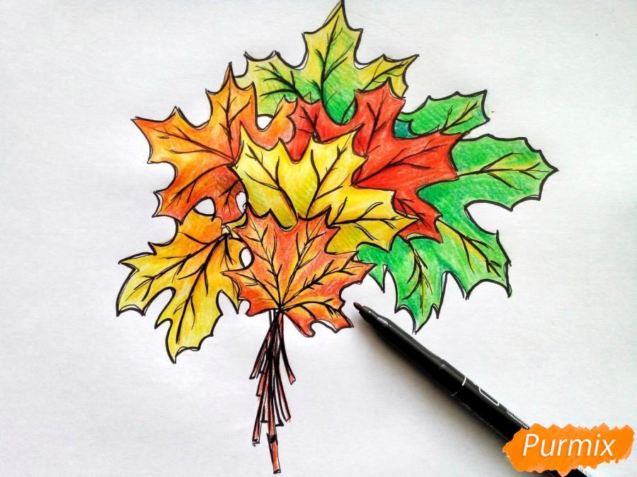 Рисуем букет из кленовых листьев - фото 9
