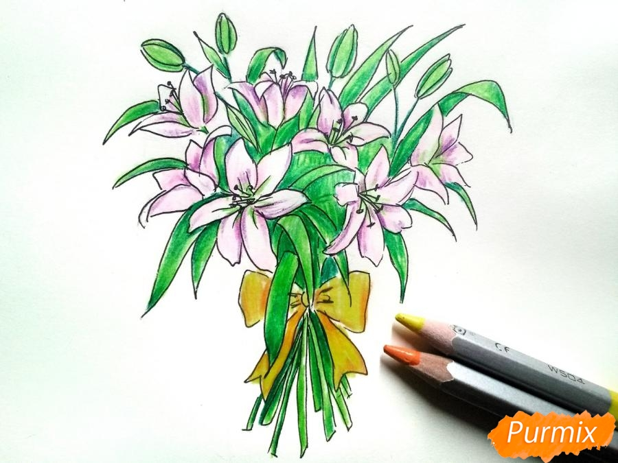 Рисуем букет лилий цветными карандашами - фото 8