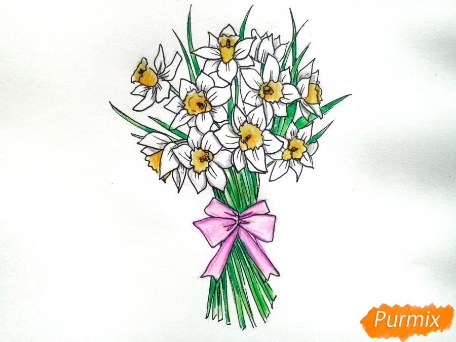 Как нарисовать букет нарциссов цветными карандашами поэтапно