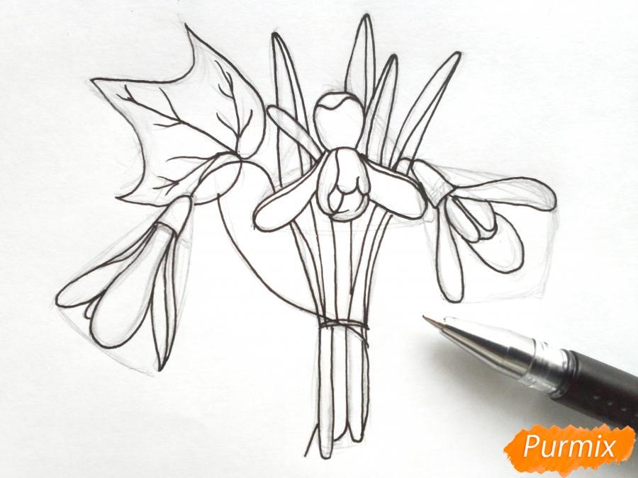 Рисуем букет подснежников цветными карандашами - фото 5