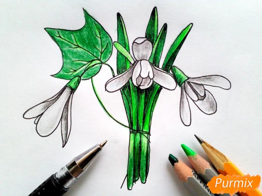 Рисуем букет подснежников цветными карандашами - фото 9